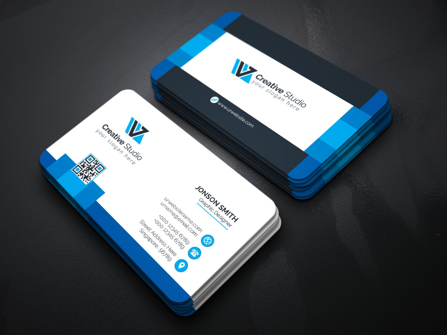 Creative studio business card business card templates for It works global business cards