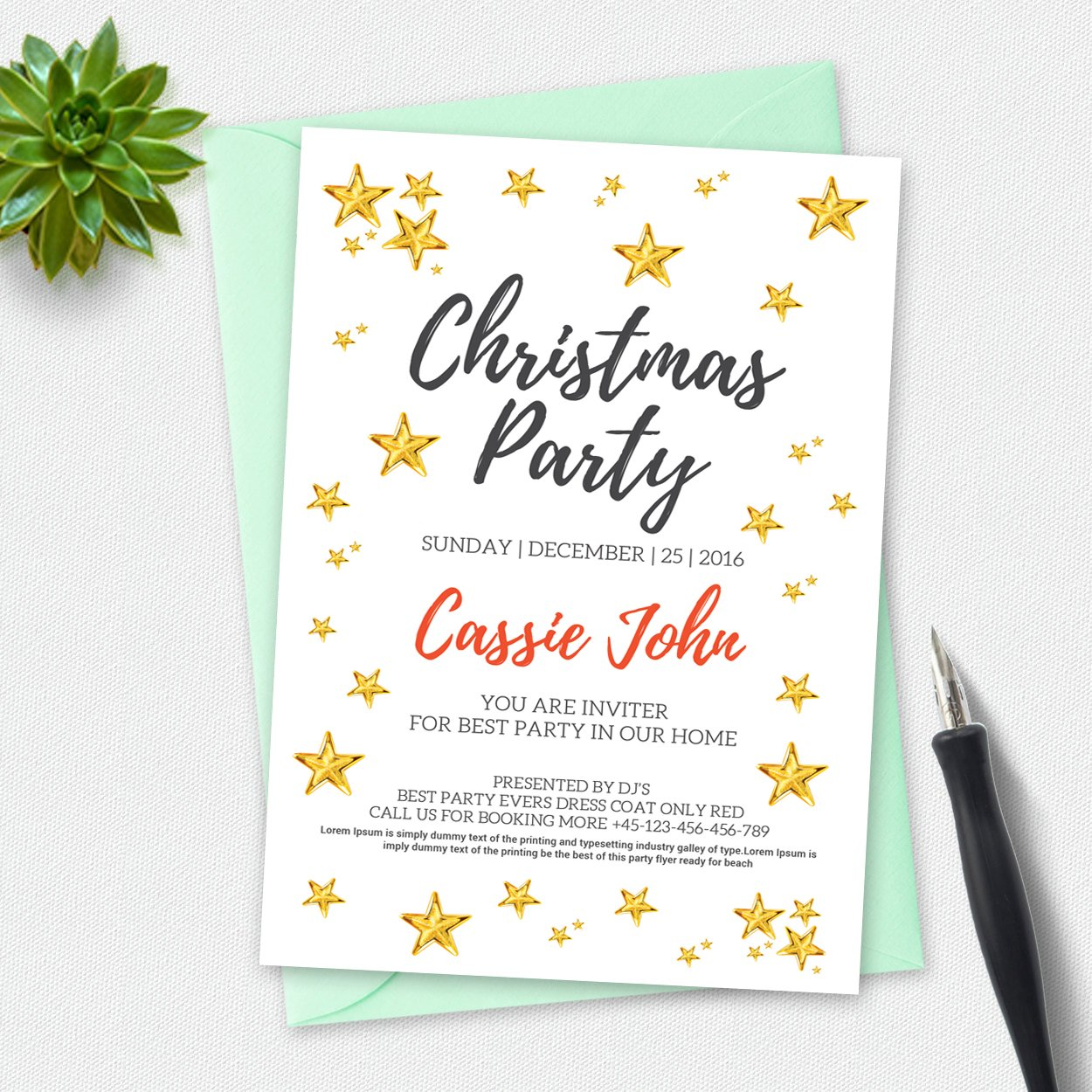 christmas party invitation card invitation templates creative market. Black Bedroom Furniture Sets. Home Design Ideas