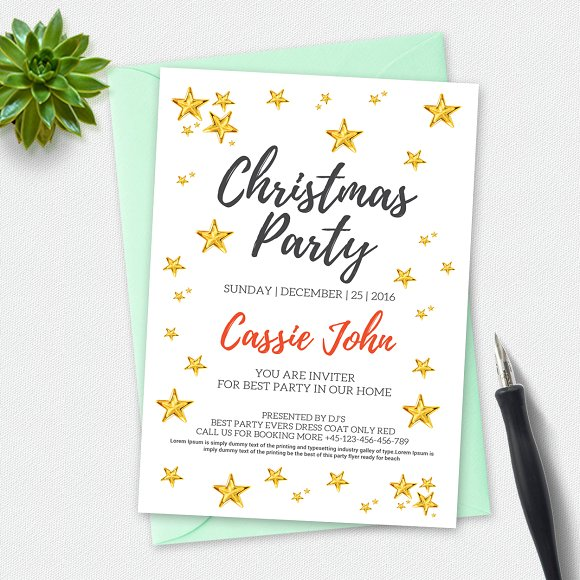 christmas party invitation card invitation templates on creative market. Black Bedroom Furniture Sets. Home Design Ideas