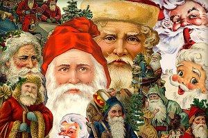 Vintage Diecut Santa Claus Elements