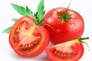tomatoes with green leaf isolated
