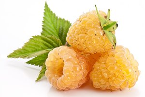 Yellow raspberries isolated on a whi