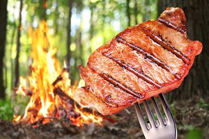 Steak on a fork. In the background a bonfire in the forest.