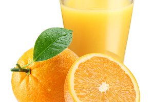 Orange juice with ripe orange on a white background.