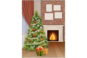 Christmas Interior with fireplace