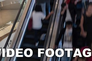 Timelapse of escalators with people