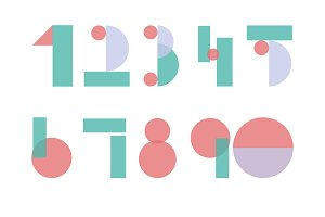 Numbers letter abstract vector set