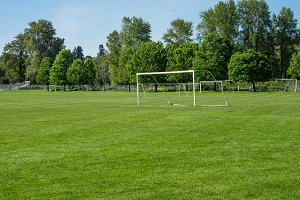 Soccer field and net at a park