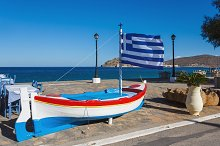 Greek flag on a boat