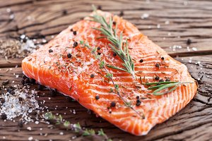Salmon filet with spices