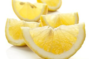 Lemon slice on a white background.