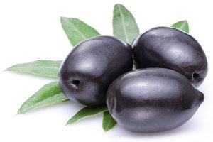 Three large ripe black olives