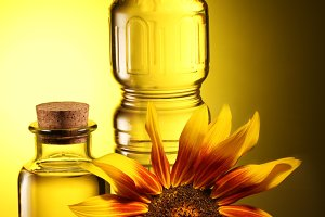 Cooking oil in a plastic and glass bottles with sunflower on a dark yellow background.