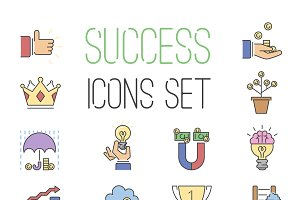 Business success vector line icons