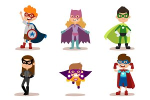 Superhero kids vector set
