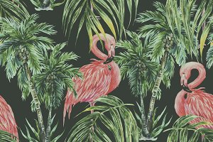 Watercolor flamingos,trees pattern