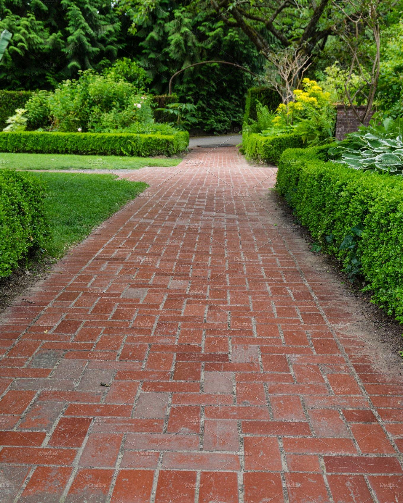 Brick pathways through a garden ~ Nature Photos ~ Creative Market