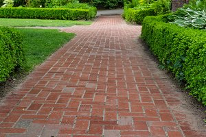Brick pathways through a garden