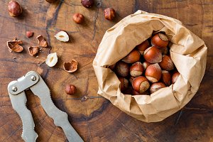 Hazelnuts and nutcracker