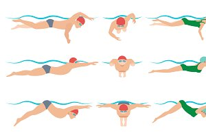 Different swimmers style vector