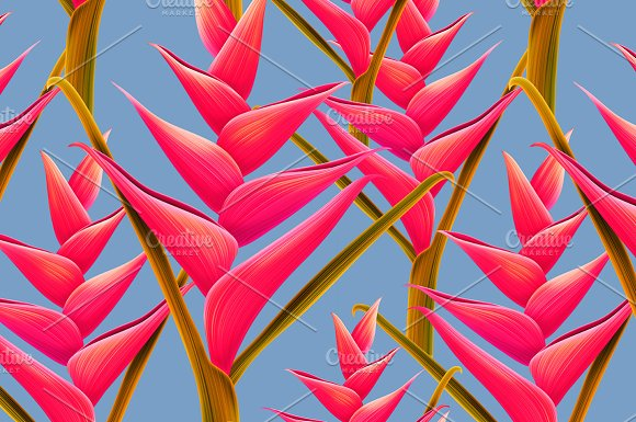Seamles Tropic Jungle Flower pattern