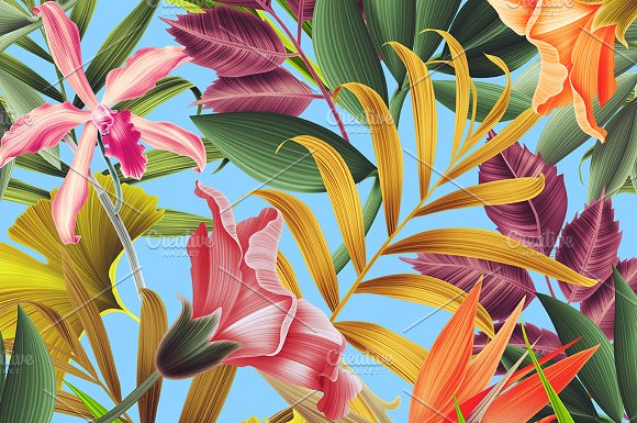 Seamless Tropical flowers and leaves