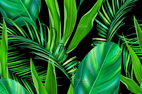 Seamless green leaves tropic pattern