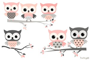 Cute girl owls clip art set