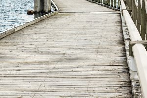 Wooden pier or dock extending into a