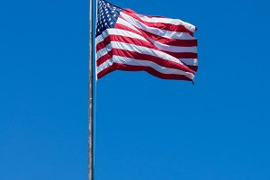United States flag on a flag pole