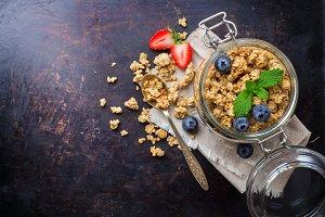Homemade muesli granola with berries