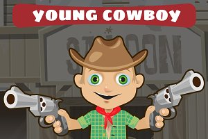 Young cowboy with guns, cartoon man