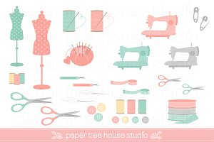 Sewing & Craft Clip Art Set