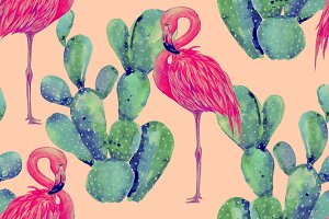 Watercolor flamingos,cactus pattern