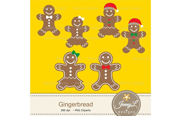 Gingerbread Digital Papers & Clipart in Patterns - product preview 1