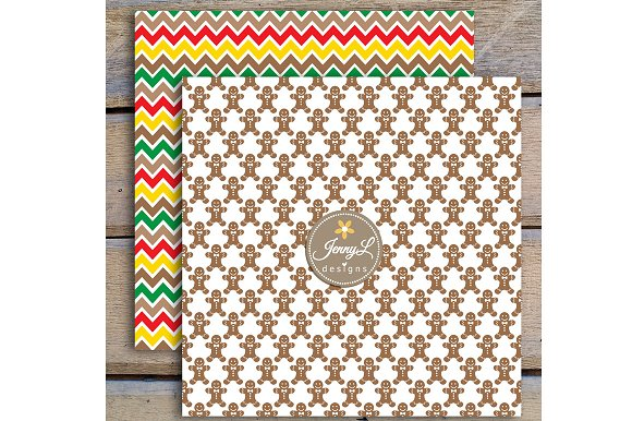 Gingerbread Digital Papers & Clipart in Patterns - product preview 3