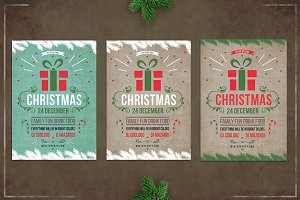 Christmas retro flyer template