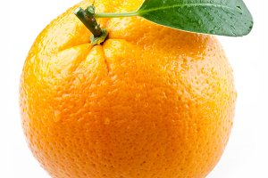 Image of a ripe orange on a white background.