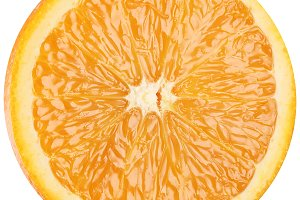 Slice of ripe orange. Macro on a white background.