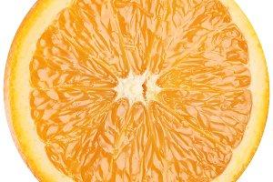 Slice of ripe orange. Macro on a white background.