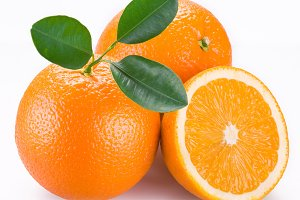 Orange fruits on a white background.