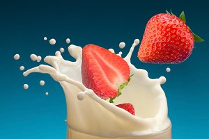 Splash of milk, caused by falling into a ripe strawberry.