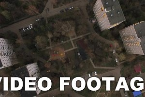 Flying over the yard of apartment