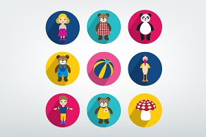 Collection of colorful kids toy icon