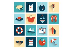 Summer flat colorful icon collection