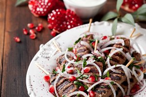 Grilled minced meat skewers kebabs
