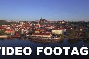Aerial shot of Prague on Vltava