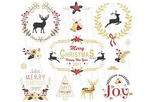 Gold Christmas Wreath & Frame Set