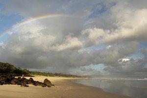 Rainbow at the beach of Byron Bay