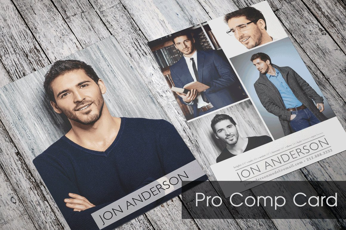 Pro comp card template flyer templates creative market for Free model comp card template psd